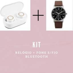 Kit:Fone sem fio+relógio
