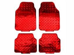 Tapete Automotivo Aluminio Vermelho 4 Peças