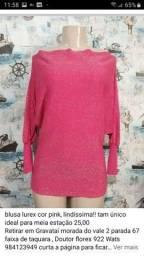 blusa lurex cor pink, lindíssima!! tam único ideal para meia estação 25,00<br>