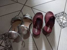 2 pares de sapato femenino tamanho 35.