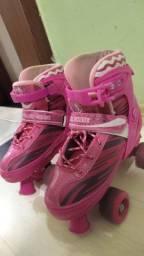 Patins Usado Roller Skate Ajustável Rosa Fênix<br><br>