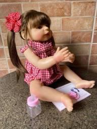 Bebê Reborn Corpo Inteiro de Silicone Cabelão Nova Tamanho 55 cm (Aceito Ccartão)