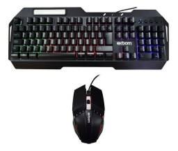 Kit Teclado E Mouse Gamer Metal Semi Mecânico Led Preto Bk-g800 Novo