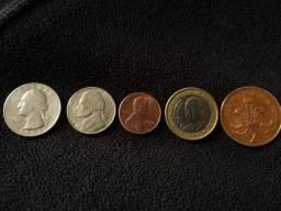 Coleção de moedas estrangeiras com 5und