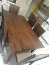 Mesa c/ 6 cadeiras de MDF (nova)