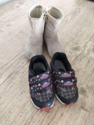 Tênis e bota unicórnio infantil, menina muito bem conservados. Tam 21