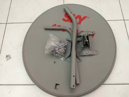 Antena Ku 60 Cm+1 Lnb Duplo+1 Kit Cabo