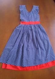 Vestido infantil de poá 9 a 12 anos