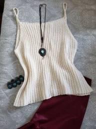 Blusa creme tricô  tamanho M