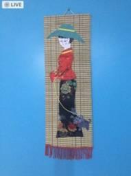 Tela com relevo e quadro pintado em tecido C. Frio