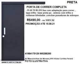 porta de correr preta completa 60 70 80 210 R$ 490,00