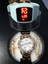 130$ KIT relógio original femenino +semi-joias 18k