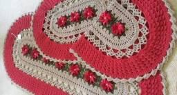 Conjunto de tapetes em crochê