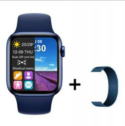 Smartwatch T500+PLUS+pulseira milanese magnética ambus na cor azul PROMOÇÃO