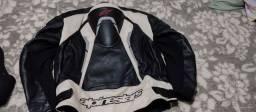 Jaqueta Alpinestars couro masc + protetor de coluna