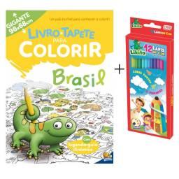 Kit Livro Tapete Infantil Para Colorir Gigante Brasil + Caixa de Lápis de Cor 12 Cores