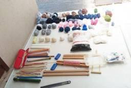 barbada!!!lã diversas, linhas, agulhas e teares