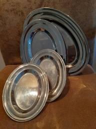 Conjunto de 4 travessas em aço inox