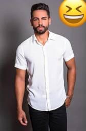Camisa de botão lisa
