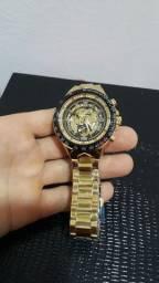 Relógio Winner Skeleton Automático Dourado Ouro