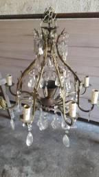 5 Lustre de bronze com cristal