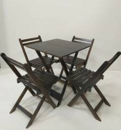 Conjunto Mesa c/4 Cadeiras Dobraveis Madeira - Fabrica