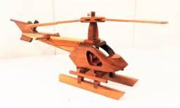 Helicóptero Em Madeira Artesanal