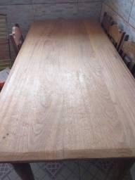 jg mesa de madeira 6 cadeiras