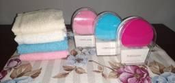 Escova esponja elétrica facial profissional limpeza massagem + brinde