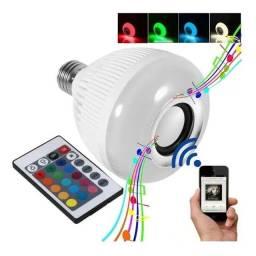 Lampada Bluetooth Led Caixa D Som Música Controle 2 Em 1 Mp3