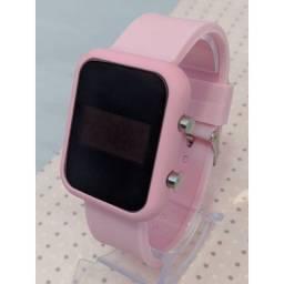 Relógio feminino smart rosa tela led digital watch pulseira silicone