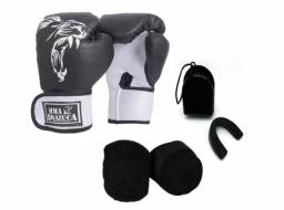 Kit Boxe Muay Thai Luva Bandagem Bucal Feminino Top