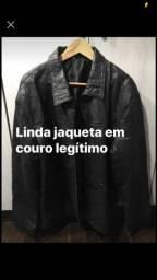 BARBADA DE INVERNO!! Jaqueta legítima em retalhos de couro tamanho: EXG