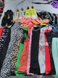 Vendo lote de roupas 22 peças e 6 pares de calçados.