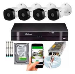 Kit dvr intelbras 4 cameras completo usado