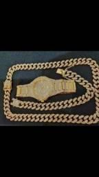 Cordão + pulseira + relógio cravejados