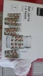 Conjunto jarra + 6 copos p suco