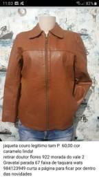 Jaqueta de couro legítimo Tam P 60 cor caramelo