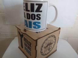 Caneca de Porcelana Dia dos Pais + Caixinha MDF Personalizada