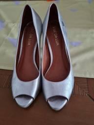 Sapato prata salto alto