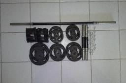 Kit anilhas + barras + pesos pernas
