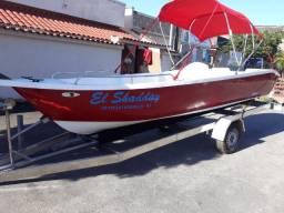 Barco corisco completo com carreta rodoviaria feita de aço inox e motor de popa 25/30 HP