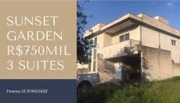 Jacareí sobrado em Condomínio Sunset Garden Alto Padrão 3 suítes só r$750nil