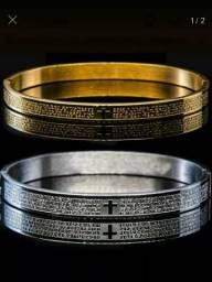 Par de pulseiras oração pai nosso (unissex)