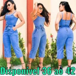 Macacão jeans com lycra 36 a 40