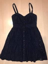 Vestido Importado De Renda Azul Marinho - Charlotte Russe -p