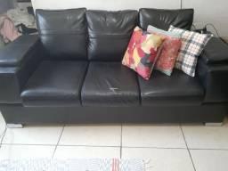 Vendo sofa preto corino