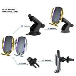 Carregador Celular Sem Fio P/ Carro Suporte iPhone 8/X/XR/XS/11/12 Samsung S6/S7/S8/./S20