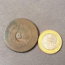 Moeda grande de cobre antiga - 40 réis