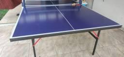 Mesa de Tênis Ping Pong TTT 100 pongori com kit raquetes e rede.